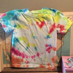 multi color tie dye tee. toddler 3T. unisex. tie by duvdesigns