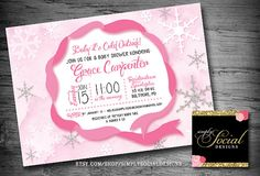 Glitter Glam, Baby It's Cold Outside, Baby Shower Invitation, Snowflakes, Ribbon, Printable