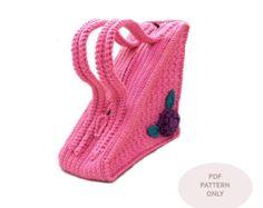 PDF Crochet PATTERN - Unique Bag Crochet Pattern Triangle Purse Pattern Unusual Triangle Bag with Flower Pattern Crochet Bags - P0002