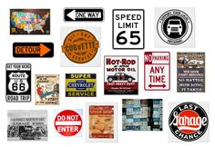 Links to tons of Road sign images. Here's a collection of road signs and vintage garage art that'll get your grease monkey's engine purring.