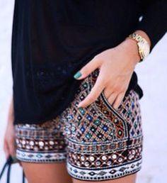 Boho Embroidered Shorts With Chiffon Blouse. Embroidered Shorts with Beading from Zara