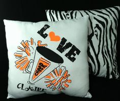Recognize a special cheerleader in your life! Cheer Gifts, Cheer Mom, Cheer Stuff, Cheer Pom Poms, Personalized Pillows, Glitter Hearts, Fan Gear, Cheerleading, Throw Pillows