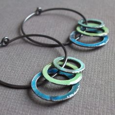 concentric circles hoop earrings water blue, mint green and aqua in sterling silver