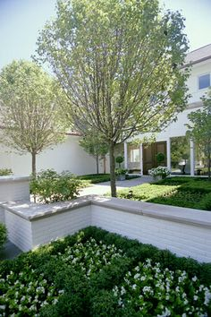 Contemporary Parterre Related posts:How to Create a Fake Brick Wall DIYBack Porch ImagesMy herb wall! Brick Wall Gardens, Brick Garden, White Gardens, Kew Gardens, Outdoor Gardens, Painted Brick Walls, White Brick Walls, Brick Planter, Stone Planters