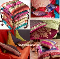 reuse old silk sarees, ideas to recycle old sarees, what to do with old silk kajeevaram sarees. We all have a bunch of sarees of our mothers and grandmothers that are too old to be used but too precious to be thrown away at the same time. Indian Fabric, Sari Fabric, Sari Silk, Silk Sarees, Indian Quilt, Saris, Diy Cushion Covers, Cushion Cover Designs, Homemade Cushion Covers