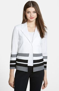 Free shipping and returns on Ming Wang Stripe Notch Collar Knit Jacket at Nordstrom.com. Graphic striped patterning lends visual impact to a notch-collar knit jacket in a textured knit with airy dimension.