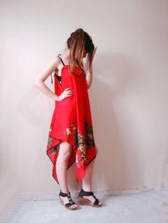 Eşarp plaj elbisesi, üçgen etekli bağcık askılı el yapımı yazlık elbise