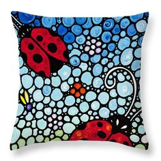 "#ladybugs #throwpillows Ladybug Art - Joyous Ladies 2 - Sharon Cummings Throw Pillow (14"" x 14"") by Sharon Cummings. Our throw pillows are made from 100% cotton fabric and add a stylish statement to any room. Pillows are available in sizes from 14"" x 14"" up to 26"" x 26"". Each pillow is printed on both sides (same image) and includes a concealed zipper and removable insert (if selected) for easy cleaning."