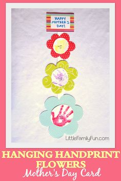Little Family Fun: Hanging Handprint Flowers Mother's Day Card