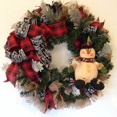 Winter Burlap Snowman Wreath Let It Snow by BayWreathDesigns
