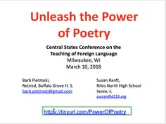 Unleash the power of poetry, presented by Susan Ranft and Barb Pietrosk Central States, Milwaukee, Conference, High School, Presentation, Poetry, Language, Teaching, Grammar School