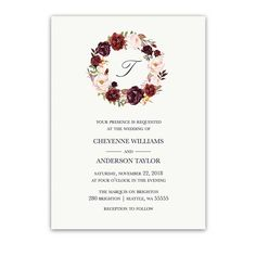 Floral Wreath Wedding Invitations Burgundy Wine. Hand painted watercolor wedding invitations in burgundy wine blush and greenery with your wedding monogram