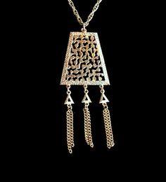 Lisner Pyramid Tassel Necklace Iridescent by HeidisTreasureChest