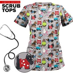 UA Best Dressed Pooch Dove Print Scrub Top Whether you work in a vet's office or just love dogs, you'll love our scallop neck print scrub top. Vet Tech Scrubs, Medical Scrubs, Veterinary Scrubs, Veterinary Medicine, Veterinary Receptionist, Veterinary Care, Socializing Dogs, Dog Grooming Salons, Scrub Tops