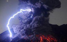Volcanic lightning emerging from Sakurajima back in 2016. (Asahi Shinbun/Getty Images)