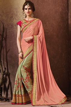 Pink and Pastle Green Heavy Embroidered Bridal Saree
