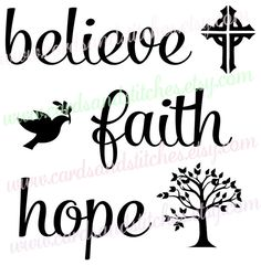Faith SVG - Hope SVG - Believe SVG - Religious Svg - Digital Cutting File - Cricut Cut - Instant Download - Svg, Dxf, Jpg, Eps, Png by cardsandstitches on Etsy