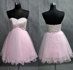 2016 Short Tulle Homecoming Dresses Sweetheart Neck Crystals Party Dresses - Dresses