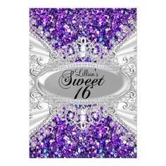 "Purple Glitter & Diamond Tiara Sweet 16 Invite 5"" X 7"" Invitation Card"