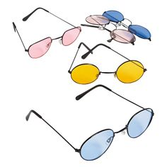 """Colored Lens Sunglasses. Add color to your world with these cool spectacles! Featuring round and oval vintage designs, these sunny beach shades will make useful party favors at your next luau. Wear them with your hippie or 60's costume! Wire with plastic lenses. 5 1/4"""" with 5"""" ear pieces."""