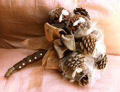 Rustic bridal bouquet pine cone fall forest winter alternative wedding