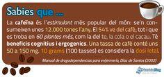 La cafeïna és l'estimulant més popular, se'n consumeixen 12.000 tones, el 54% ve del cafè. Una tassa conté uns 50 a 150 mg. 10 grams es consideren letals