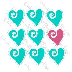 Turquoise Hearts Digital Print  Printable Wall Art  by JoHiracheta