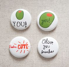 Olive+you+4+pack+pinback+buttons+by+mindyourdesign+on+Etsy,+$7.50