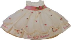 American Princess beautiful embroidered First Birthday Dress.