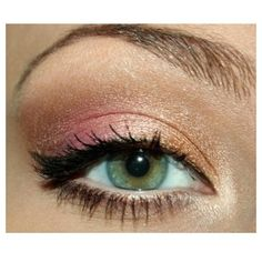 I like this eye shadow!!!  Gold & Pink Shimmer Eyeshadow/Makeup. -