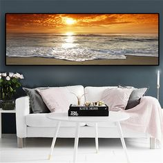 Natural Gold Beach Sunset Landscape Posters and Prints Canvas Painting Mediterran Scandinavian Wall Art Picture for Living Room – Linh's Corner Beach Canvas, Wall Canvas, Canvas Art Prints, Sunset Landscape, Landscape Walls, Landscape Posters, Living Room Pictures, Wall Art Pictures, Scenery Paintings