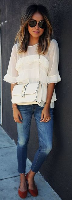 White Ruffle Blouse by Sincerely Jules
