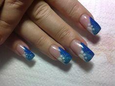 Simple+Nail+Art   two finger nails orange color long nails black flower design nails for ...