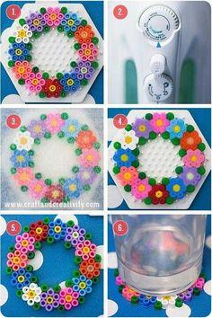 Spring coaster hama perler beads diy by Craft Hama Beads Design, Diy Perler Beads, Perler Bead Art, Pearler Beads, Fuse Beads, Hama Beads Coasters, Perler Bead Designs, Melty Bead Patterns, Pearler Bead Patterns