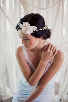 Woodsy flower halo/crown in ivory  style 203 by mignonnehandmade, $72.00