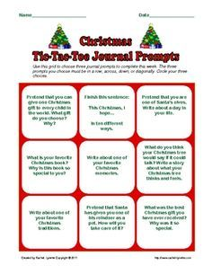 Free Christmas and Hanukkah TicTac Toe journal prompts. - Re-pinned by @PediaStaff – Please Visit http://ht.ly/63sNt for all our pediatric therapy pins