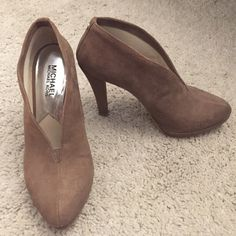 Michael Kors brown suede booties ankle boots Worn a handful of times, slip on brown suede booties by Michael Kors. Michael Kors Shoes