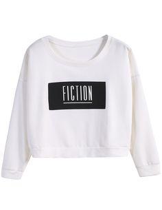 White Long Sleeve FICTION Print Crop T-Shirt -SheIn(Sheinside)