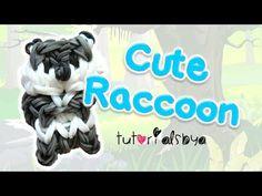 Cute Raccoon Charm / Mini Figurine Rainbow Loom Tutorial   How To   Rainbow Loom Fans