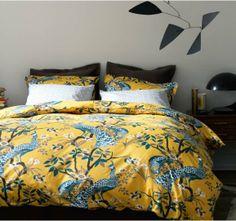 Peacock Citrine Duvet Set - Dwell Studio - via Ferm Living Bed Linen Sets, Bed Sets, Peacock Bedding, Feather Bedding, Modern Duvet Covers, Home Design, Interior Design, Design Ideas, Modern Design