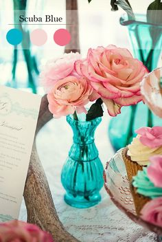 scuba blue and pink wedding decoration color ideas for spring wedding 2015