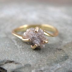 Beautiful! Raw Uncut Rough Diamond Engagement Ring  14K Yellow by ASecondTime, $495.00