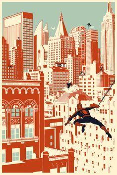 Spider-Man by Chris Thornley Spiderman Art, Amazing Spiderman, Marvel Art, Marvel Dc Comics, Bd Comics, Marvel Wallpaper, Vintage Cartoon, Spider Verse, Comic Book Artists