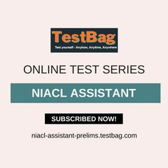 NIACL ASSISTANT Test Series - Get NIACL ASSISTANT online mock test and NIACL ASSISTANT online test series based on latest patterns, syllabus, exam date, notification, application form at niacl-assistant-prelims.testbag.com India's top e-learning platform for different competitive entrance examination with free NIACL ASSISTANT test series, NIACL ASSISTANT study material, NIACL ASSISTANT exam patterns, NIACL ASSISTANT exam date etc. Past Exam Papers, Past Exams, Online Mock Test, Online Test Series, Sample Paper, Model Test, Application Form, Question Paper, Study Materials