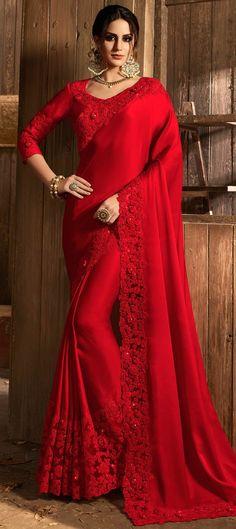 Bollywood Red and Maroon color Net, Satin Silk, Silk fabric Saree : 1569322 Fancy Sarees Party Wear, Saree Designs Party Wear, Saree Blouse Designs, Indian Bridal Outfits, Indian Bridal Fashion, Maroon Saree, Red Saree, Bollywood Saree, Bollywood Fashion