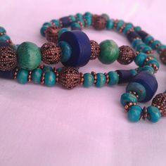 Egyiptom (nyaklánc zöld fa és rézgyöngyökkel), Ékszer, óra, Nyaklánc, Meska Handmade Necklaces, Jewelry Making, Beaded Bracelets, How To Make, Fashion, Moda, Fashion Styles, Pearl Bracelets, Jewellery Making