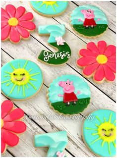 Peppa Pig Cookies! @customcookiesbyjelly #customcookiesbyjelly #sugarcookies #cookies #peppa Pig Cookies, Sugar Cookies, Peppa Pig Cookie, Glaze Icing, Custom Cookies, Cookie Desserts, Royal Icing, Cookie Decorating, Jelly