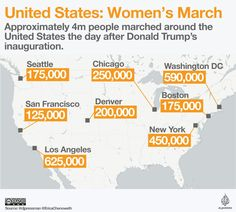 (131) #WomensMarch hashtag on Twitter #WomensMarch: Largest anti-Trump marches in the United states by city