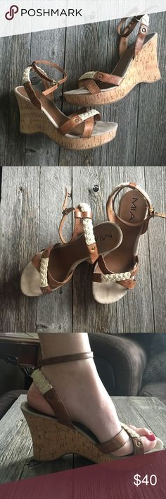 MIA Wedges size 7 1/2 Cork wedges • size 7 1/2 • buckles around ankle • 4 inch heel MIA Shoes Wedges