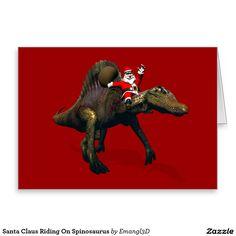 Santa Claus Riding On Spinosaurus Greeting Card